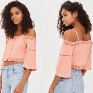 Topshop Cold Shoulder Peach Crop Top